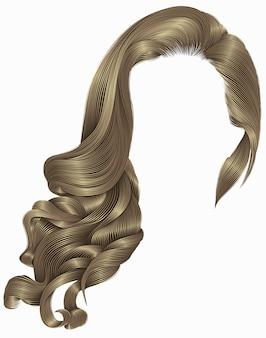 Vrouw trendy lang krullend blond brownhairs pruik. retro stijl.