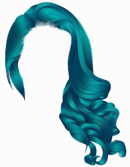 Vrouw trendy lang krullend haar pruik blauwe kleuren. retro stijl. vrouw trendy lang krullend haar pruik blauwe kleuren.