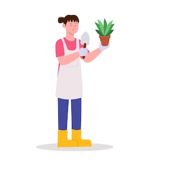 Vrouw tuinieren kamerplanten vlakke afbeelding
