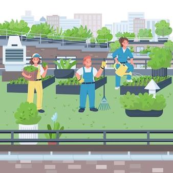 Vrouw tuinmannen egale kleur illustratie