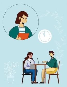 Vrouw twee die online conferentie met mentor heeft