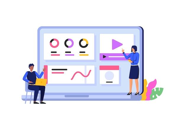 Vrouw uitleggen web concept