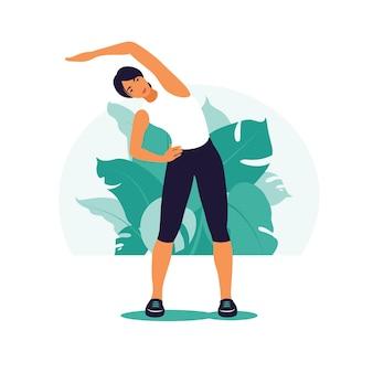 Vrouw uitoefenen. gezonde levensstijl en fitness concept.