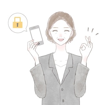 Vrouw van middelbare leeftijd in een pak met een smartphone met veiligheidsmaatregelen. op witte achtergrond.