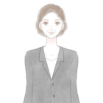 Vrouw van middelbare leeftijd in pak. op witte achtergrond.
