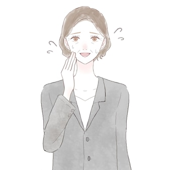 Vrouw van middelbare leeftijd in pak vriendelijk lachen. op witte achtergrond.