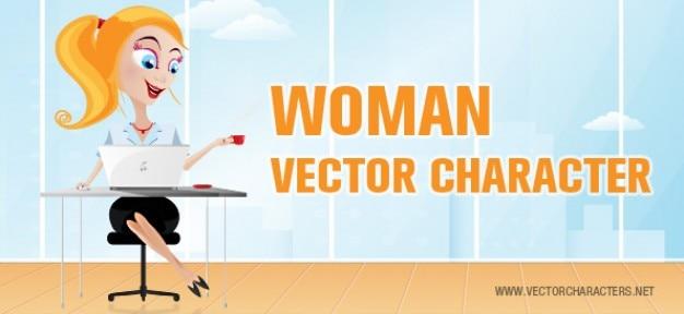 Vrouw, vector, character