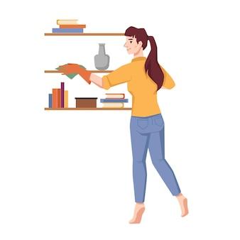 Vrouw veegt stof op planken geïsoleerde platte stripfiguur vector huishoudelijk werk huishouden huisvrouw