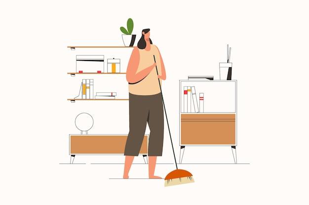 Vrouw vegen huis met bezem platte vectorillustratie
