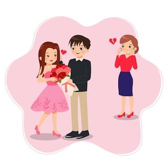 Vrouw verdrietig vanwege zijn vriendje betrapt bedrog met ander meisje jaloezie concept hart breken platte illustraties geïsoleerd op wit