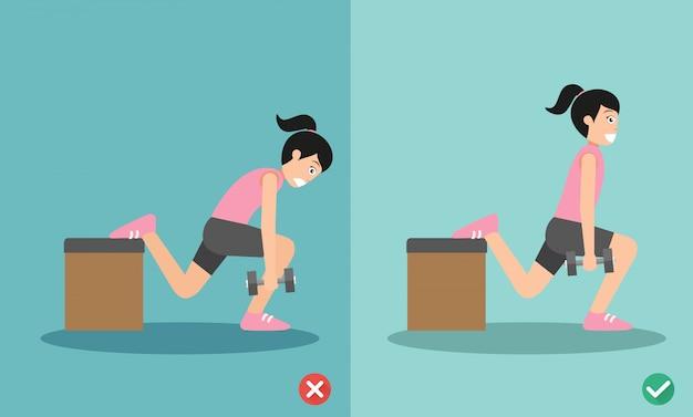 Vrouw verkeerde en juiste halter één been splitsen squat houding
