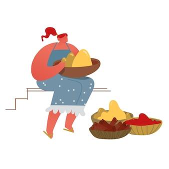 Vrouw verkopen van vers exotisch voedsel spice en kleurrijke tika poeders op aziatische indiase kruidenmarkt.