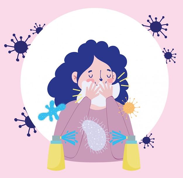 Vrouw vermijdt bedekking mond met papieren cartoon, covid 19 coronavirus pandemische preventie