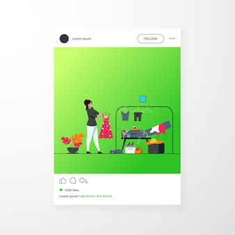 Vrouw verpakkingstas voor op reis. meisje haar bagage voorbereiden op vakantie platte vectorillustratie. vakantie concept mobiele app-sjabloon