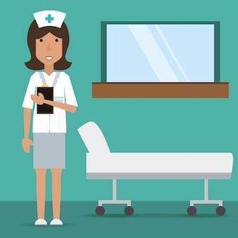 Vrouw verpleegster met medisch voorschrift en brancard