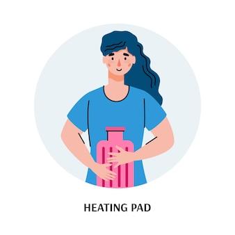 Vrouw verwarming haar maag met verwarming pad, platte cartoon vectorillustratie geïsoleerd op een witte achtergrond. maagpijn en ongemak behandeling en opluchting concept. Premium Vector