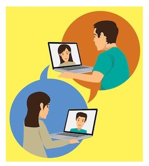 Vrouw videogesprek met echtgenoot