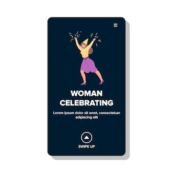 Vrouw viert nieuwjaar of verjaardag vector. jonge vrouw viert kerstmis of vakantie met festival confetti en maakt lawaai. karakter op feestelijke gebeurtenis web platte cartoon afbeelding