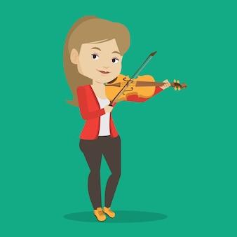 Vrouw viool illustratie spelen.