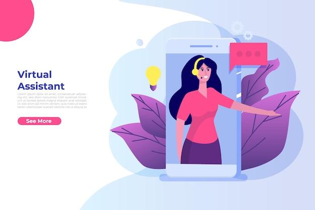 Vrouw virtuele online bedrijfsassistent