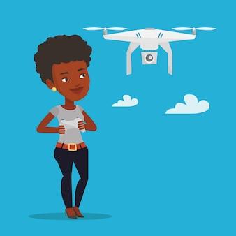 Vrouw vliegende drone vectorillustratie.