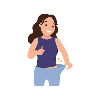 Vrouw voelt zich gelukkig vanwege succesvol dieet losse broek als gevolg van gewichtsverlies platte vectorontwerp