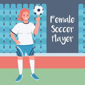 Vrouw voetballer sociale media plaatsen. vrouwelijke voetballer zin. web banner ontwerpsjabloon.