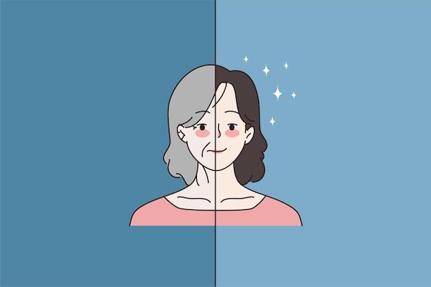 Vrouw voor en na goede gezichtsbehandelingen in de salon