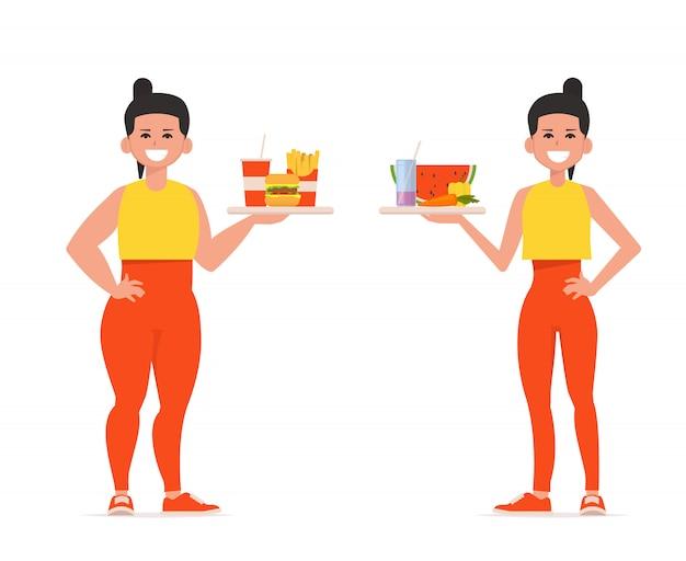 Vrouw voor en na het afvallen met dienbladen met voedsel