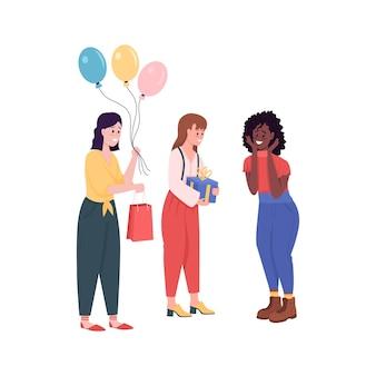 Vrouw vrienden op verjaardagsfeestje egale kleur illustratie