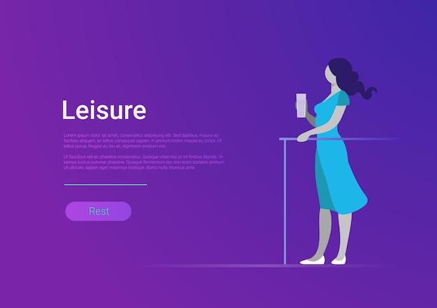 Vrouw vrije tijd levensstijl vlakke stijl vector web banner sjabloon illustratie