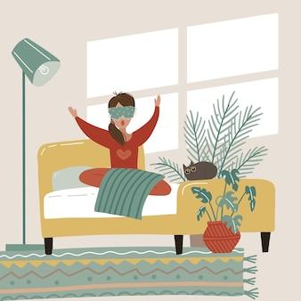 Vrouw wakker 's ochtends in comfortabel bed. jong meisje wakker uit slaap geeuw in kamer huis platte cartoon