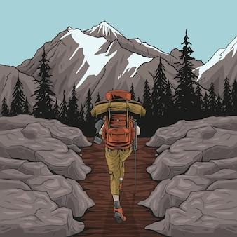 Vrouw wandelaar wandelen kijken schilderachtig uitzicht van herfst gebladerte berglandschap Premium Vector