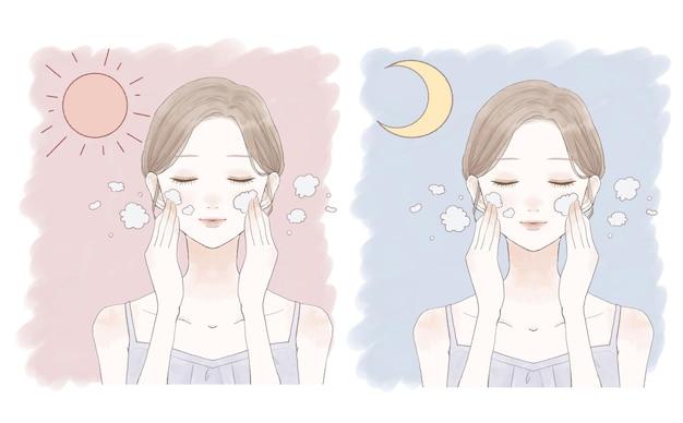 Vrouw wassen gezicht in de ochtend en nacht. op een witte achtergrond.