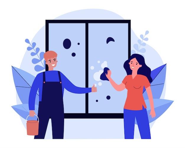 Vrouw wassen venster