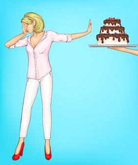 Vrouw weigert het eten van cake stuk met stop gebaar