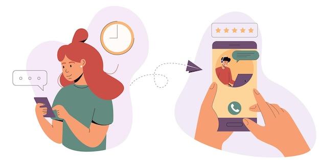 Vrouw wendt zich tot de ondersteuningsdienst online technische ondersteuningonline hulplijn hotline-operator