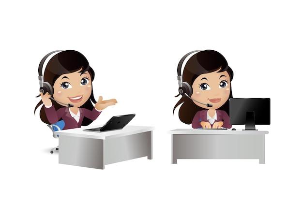 Vrouw werknemer in klantenservice