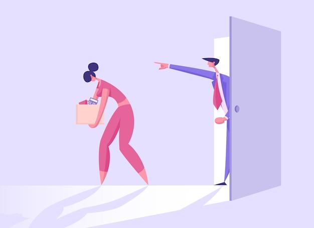 Vrouw werknemer ontslagen van baan illustratie