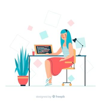 Vrouw werkt in het domein