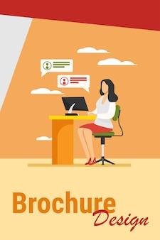 Vrouw werkt, typt en verzendt berichten. werk, tafel, computer platte vectorillustratie. werkplek en communicatieconcept