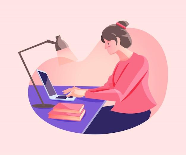 Vrouw werkt vanuit huis concept