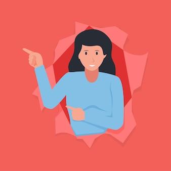 Vrouw wijst met zijn vinger die uit gescheurd papier komt