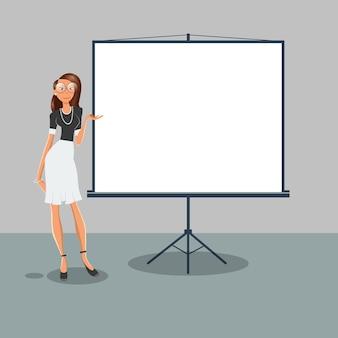 Vrouw wijst op het witte bordje. zakelijke presentatie. vector illustratie