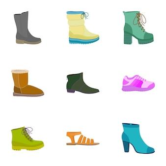 Vrouw winkel schoenen pictogramserie. platte set van 9 vrouw winkel schoenen pictogrammen