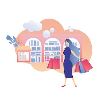 Vrouw winkelen dag promotie