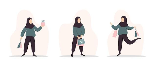 Vrouw winkelen. gelukkig arabisch meisje met tassen en geschenken.