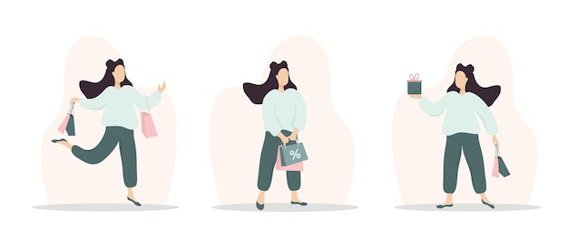 Vrouw winkelen. gelukkig meisje met tassen en geschenken.