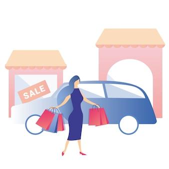 Vrouw winkelen huur auto verkoop korting