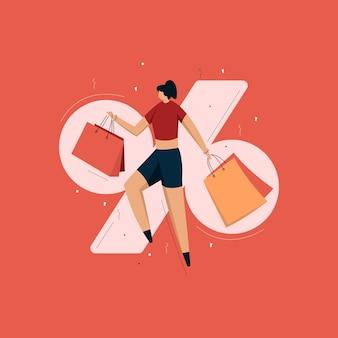 Vrouw winkelen illustratie